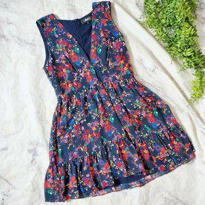 Saloni Pia Navy Blue Floral 100% Silk Mini Dress